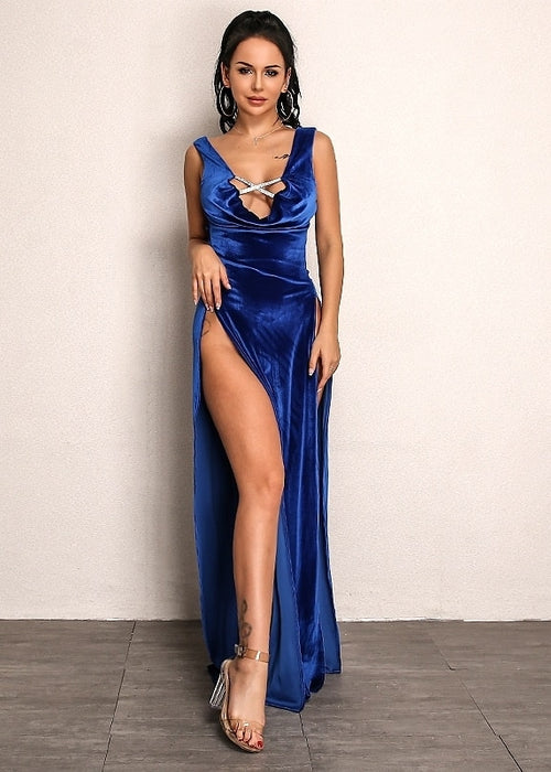 Cowl Neck Double Slit Velvet Dress