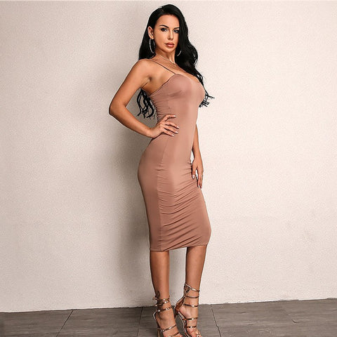 Asymmetrical Strap Bodycon Dress in  BROWN