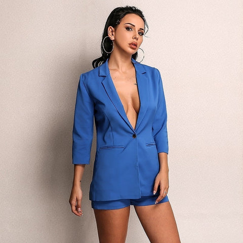 2-piece Blazer Suit and Short Set in BLUE