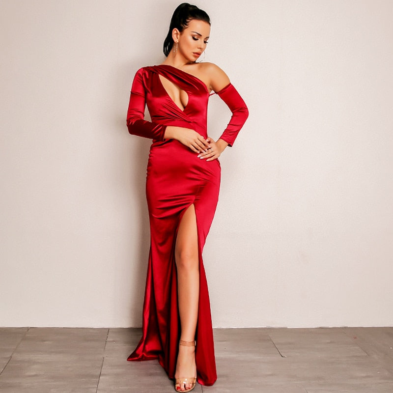 One-Sleeve Off-Shoulder Bodycon Dress with Slit in RED