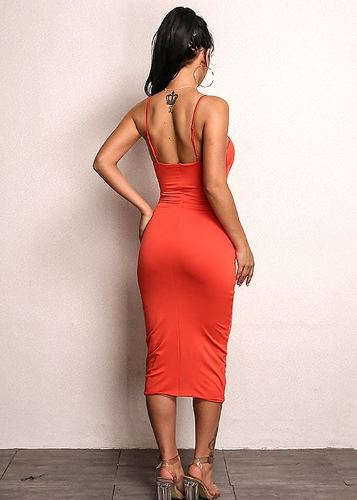 Asymmetrical Strap Bodycon Dress in ORANGE