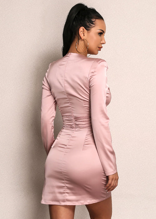 Kylie Jenner Inspired Satin Mini Dress in PINK