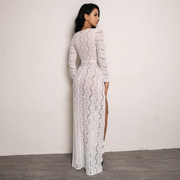 Double Sky-High Slit Lace Dress in WHITE