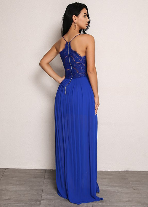 Lace Bodice Pleated Dress in BLUE