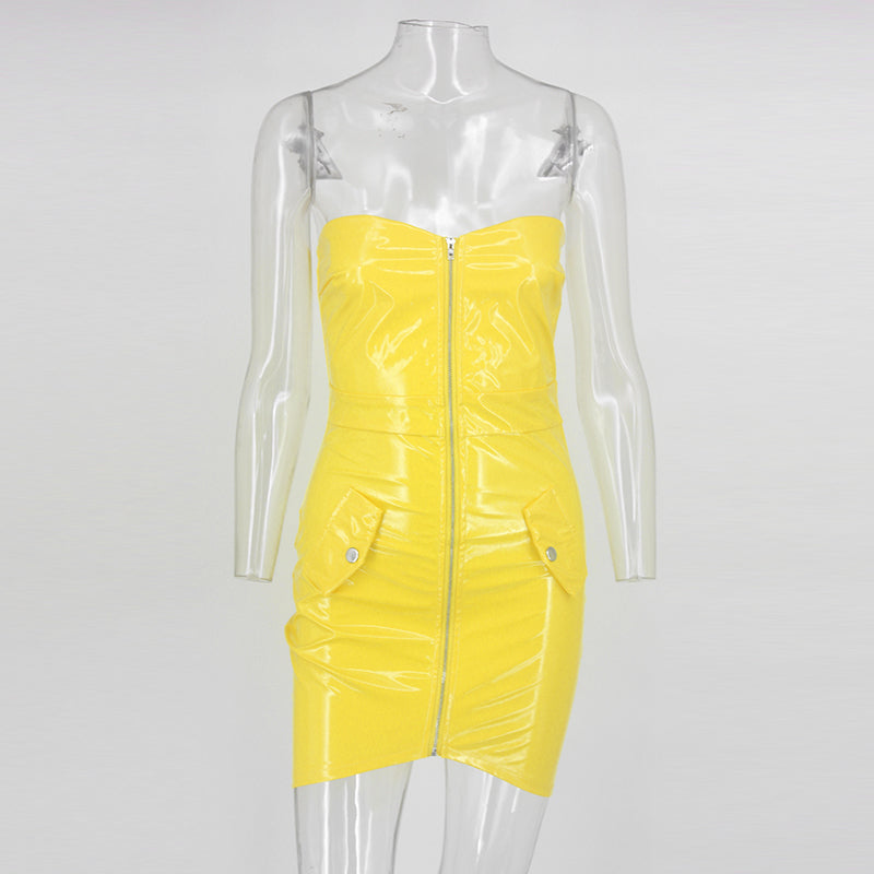Front Zip Strapless Latex Dress