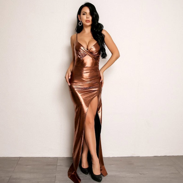 Amrezy Inspired Floor Length Bodycon Dress with Front Slit