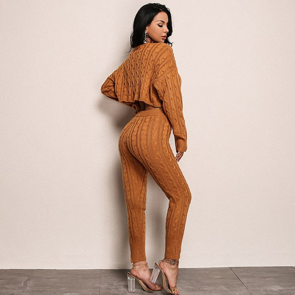 Long Sleeve Knit Crop Top and Pants Set