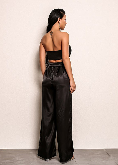 Satin Strapless Bandeau Wide Leg Jumpsuit Two Piece Set