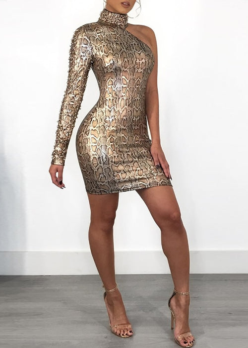 One Shoulder Gold Studded Snake Print Mini Dress