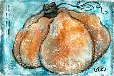 """Pumpkin 1"" Mixed Media Artwork"