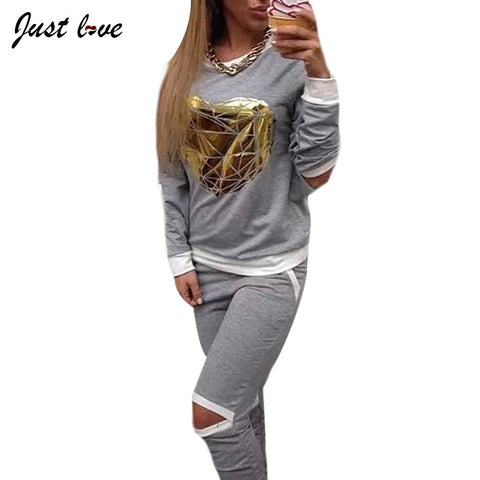 2017 New Gold Heart Hollow Out Lady Tracksuit Women Hoodies Sweatshirt +Pant Sportswear Costumes 2 Piece Set