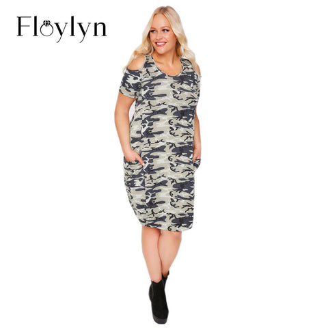Floylyn Plus Size New Fashion Women Clothing Casual Camouflage Cold Shoulder Dress Short Sleeve Big Size Dress 3XL 4XL 5XL 6XL