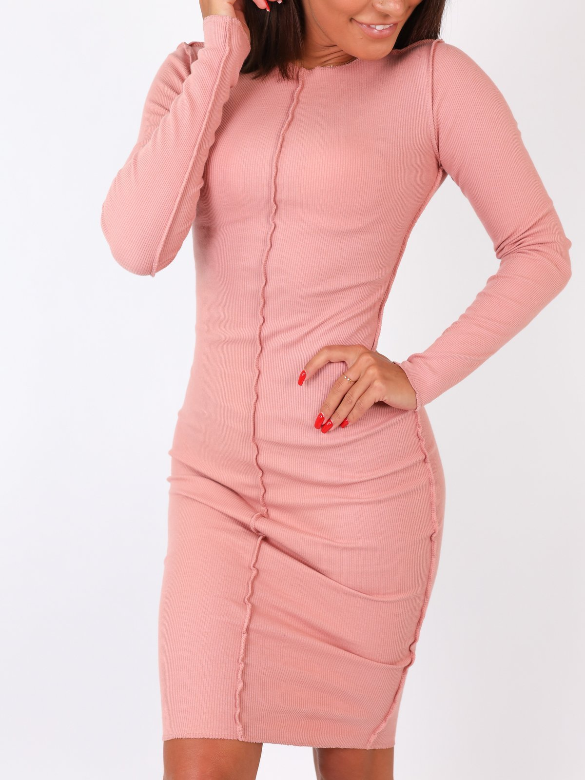 Rib Stitch Bodycon Midi Dress - PINK -B24
