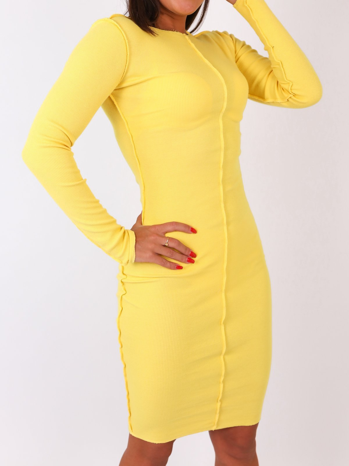 Rib Stitch Bodycon Midi Dress - YELLOW -B24