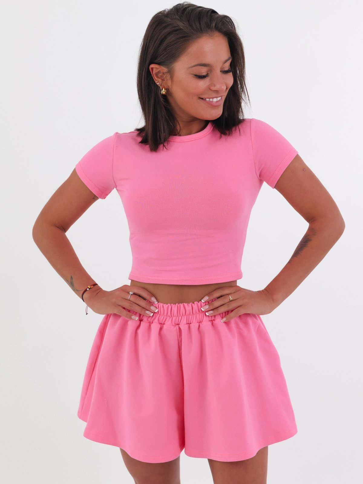Basic Crop Top and Shorts Set - CANDY PINK - B64