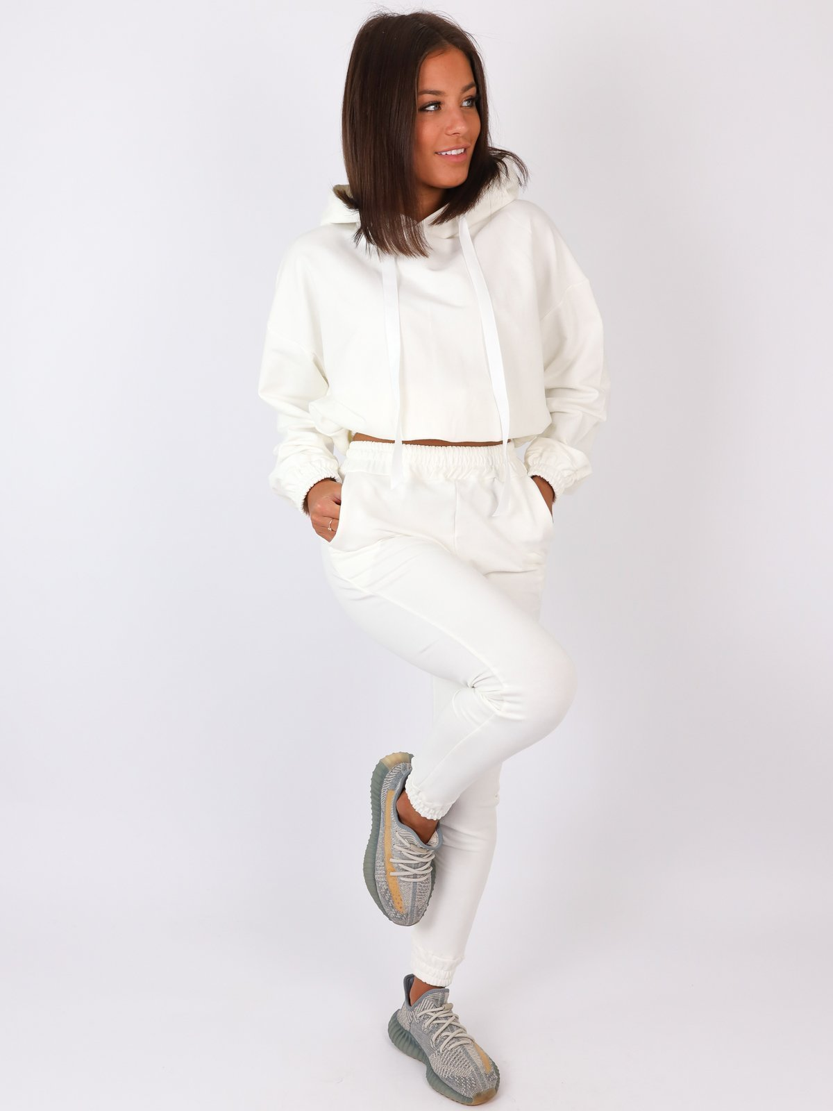 Soft Cotton Crop Hoody + Joggers Set -WHITE-  A60