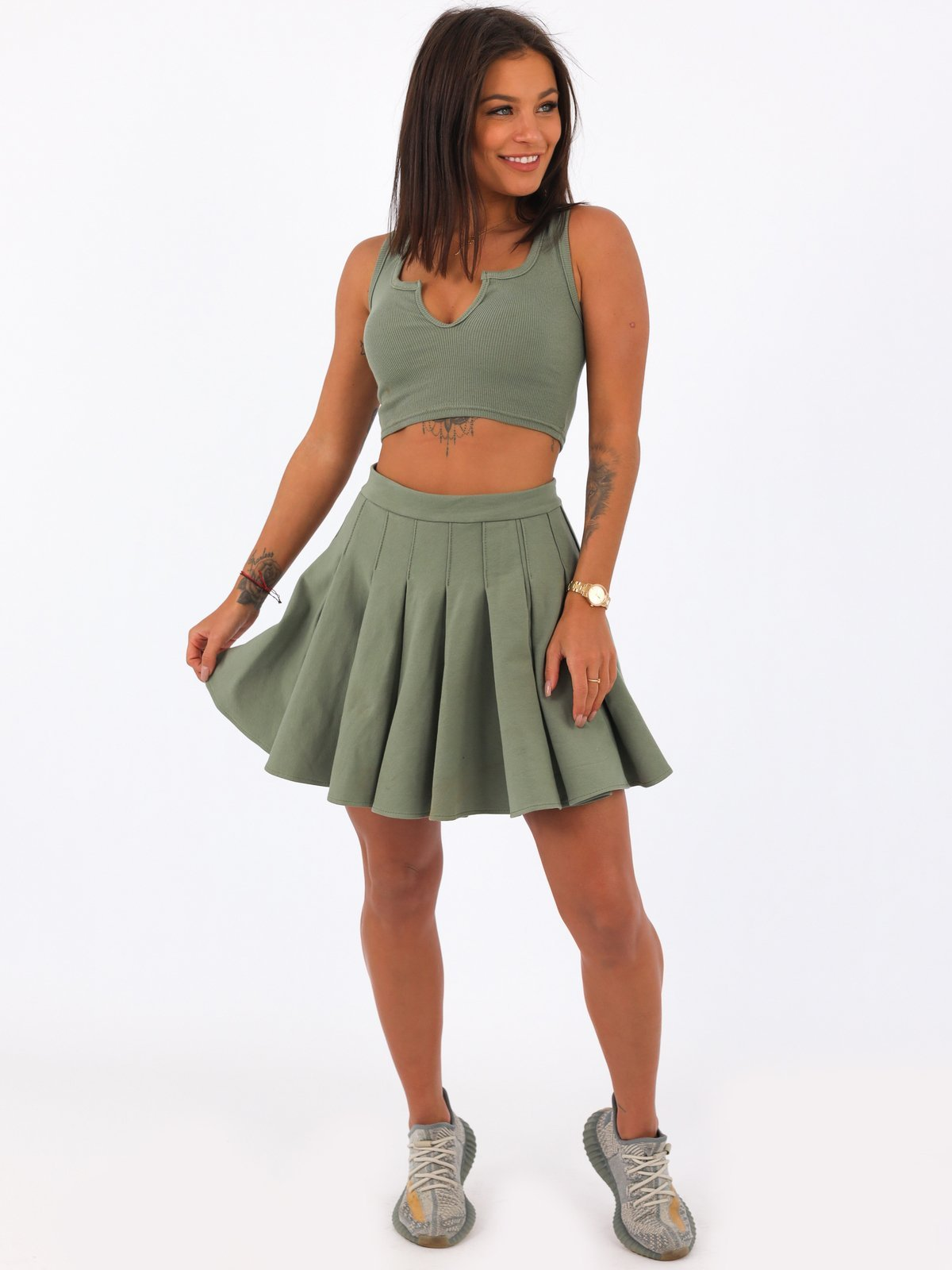 Basic Pleated Skater Skirt- KHAKI - B48