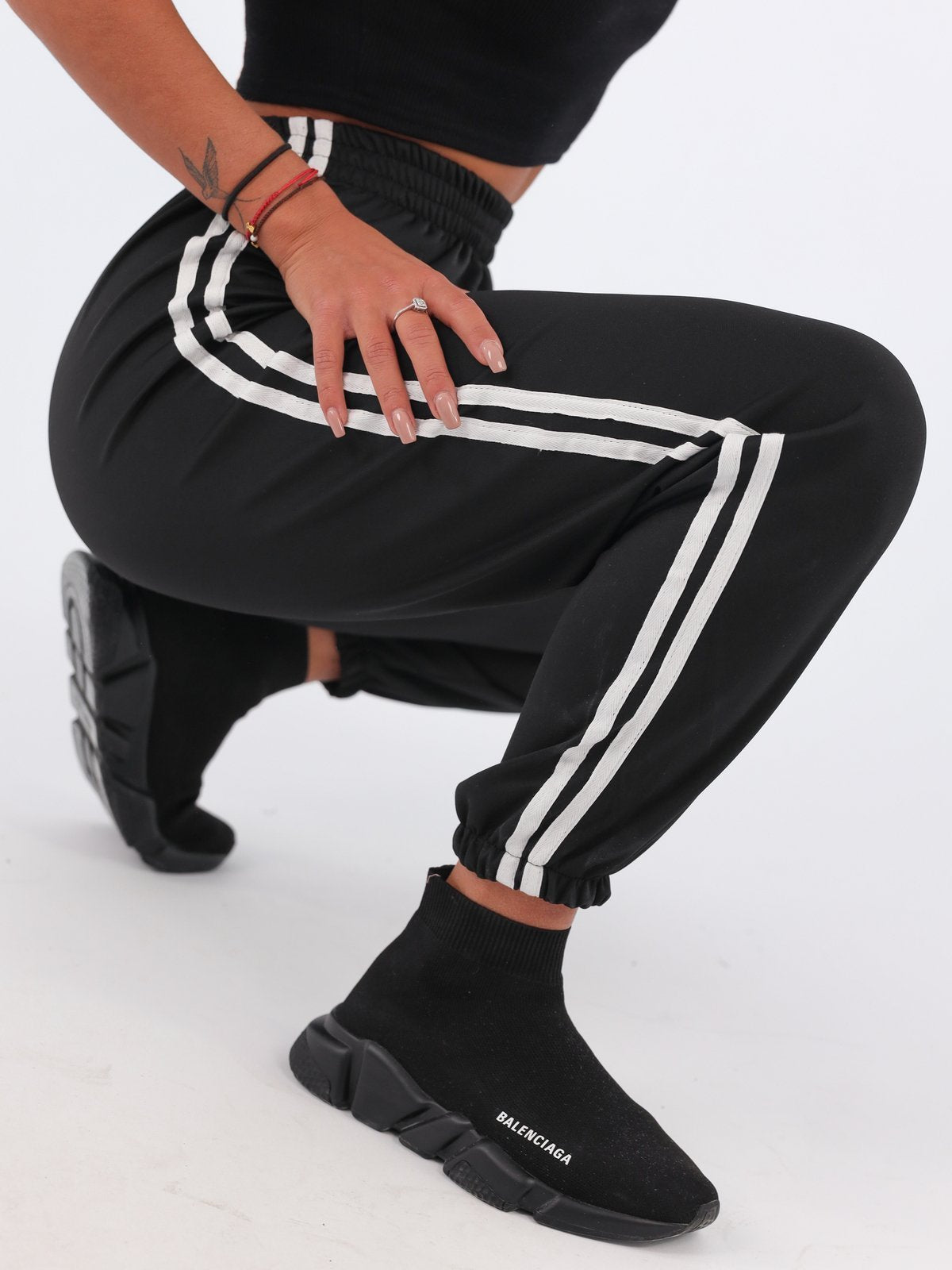 Ultimate Side Stripe Joggers - BLACK -B41