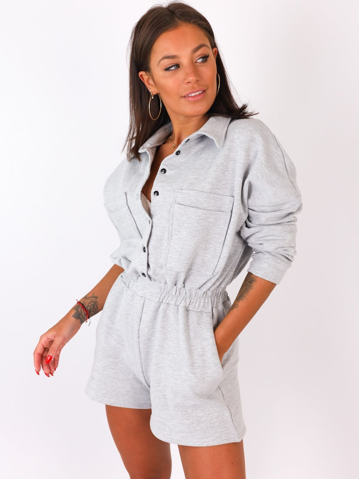 Basic Pocket Details Long Sleeve Playsuit - GREY -B18