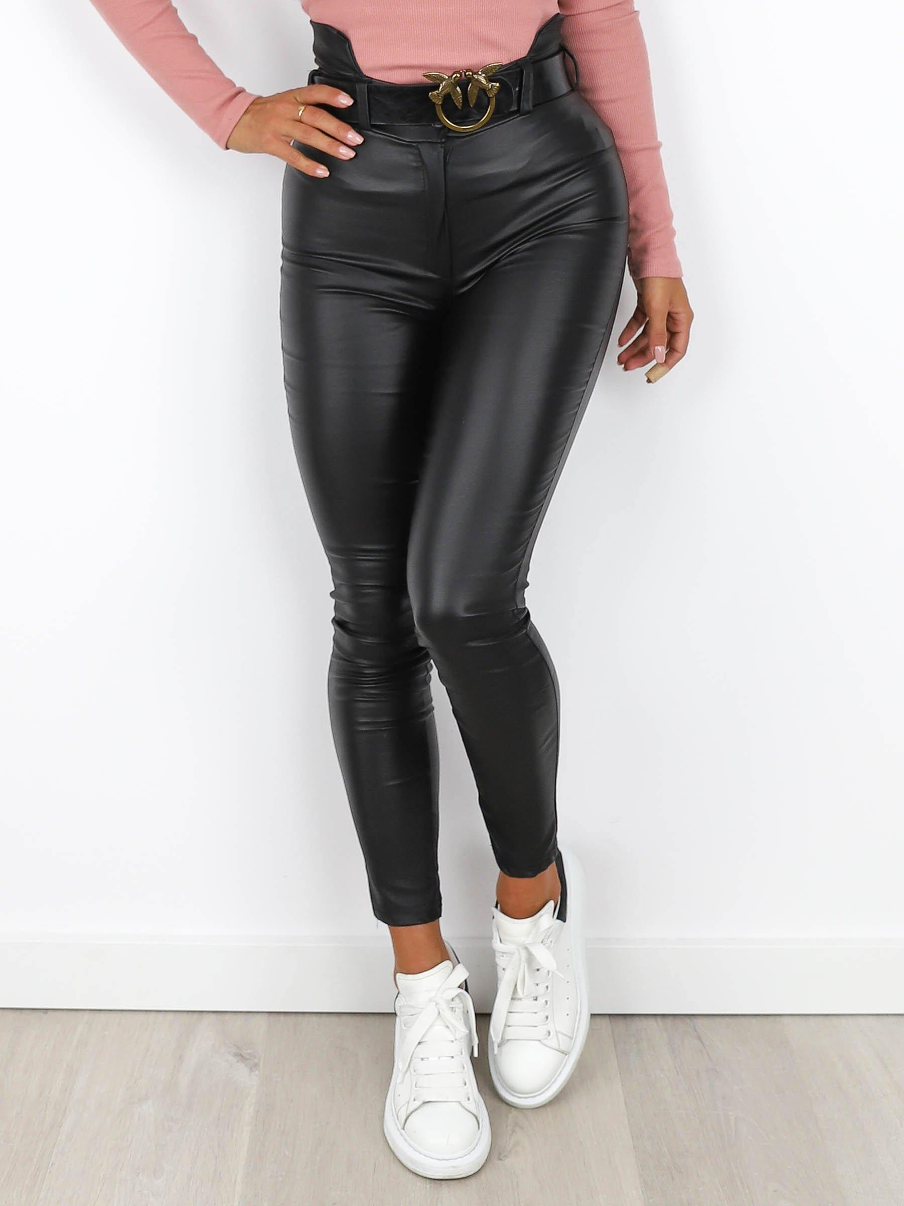 High Waisted Eco Leather Leggings/Trousers  Black  X188 - Wassyl Fashion UK LTD