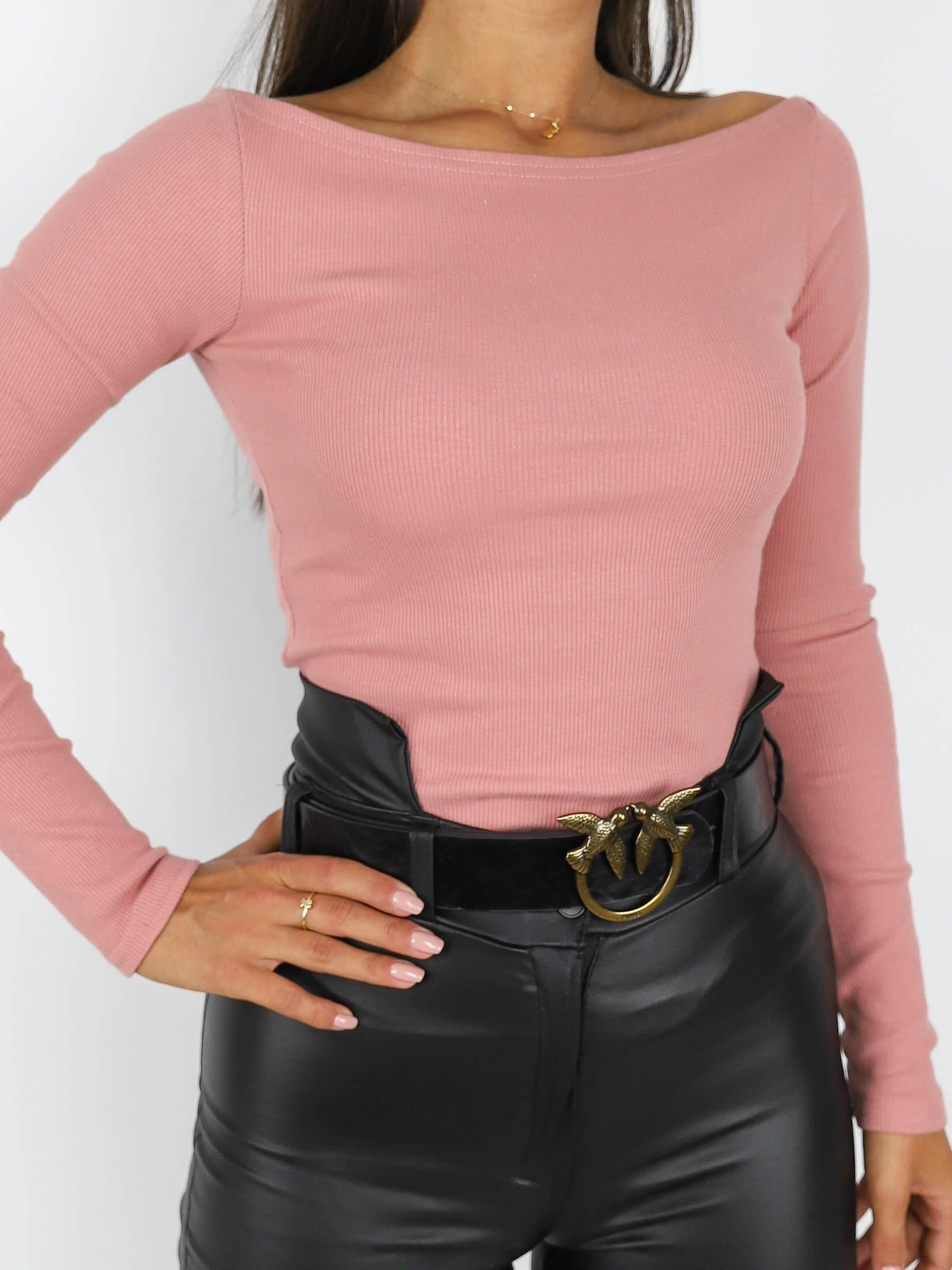 Basic Off Shoulders Top Pink  X187 - Wassyl Fashion UK LTD