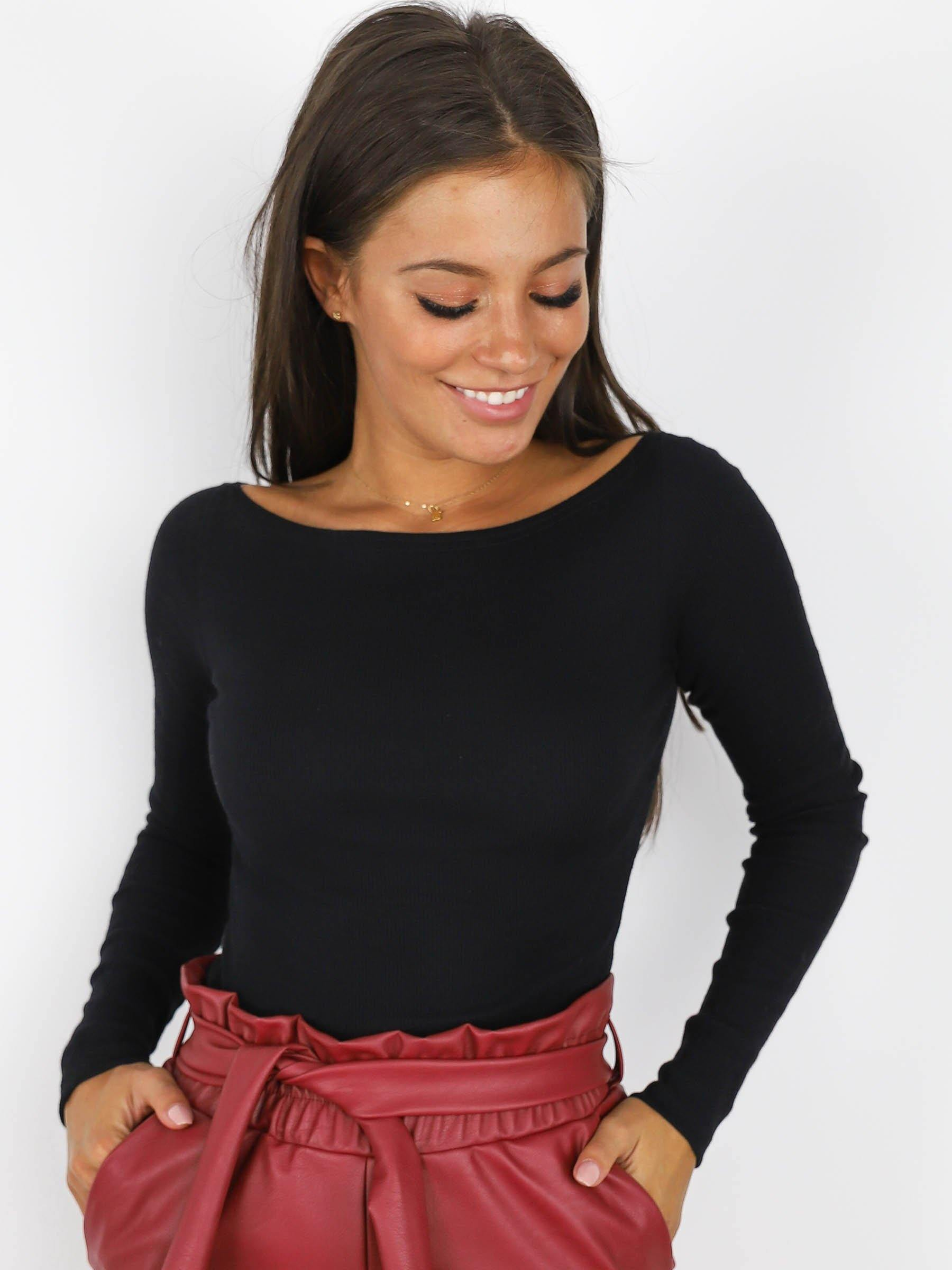 Basic Off Shoulders Top Black X187 - Wassyl Fashion UK LTD