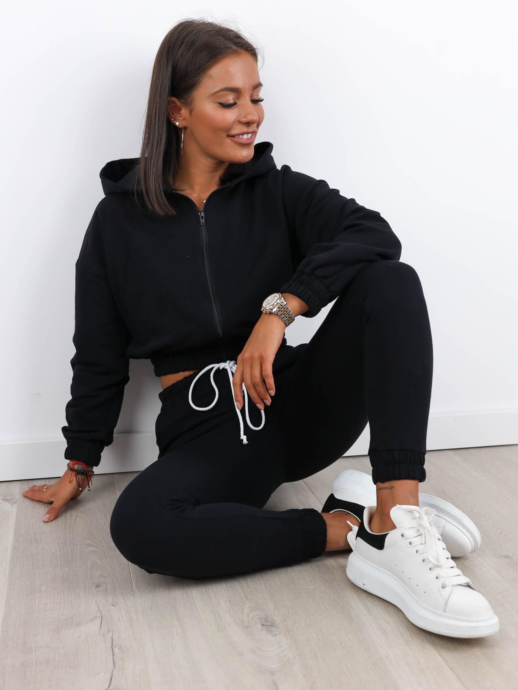 Cropped Zip Sweat and Jogger Set - BLACK - A166 - Wassyl