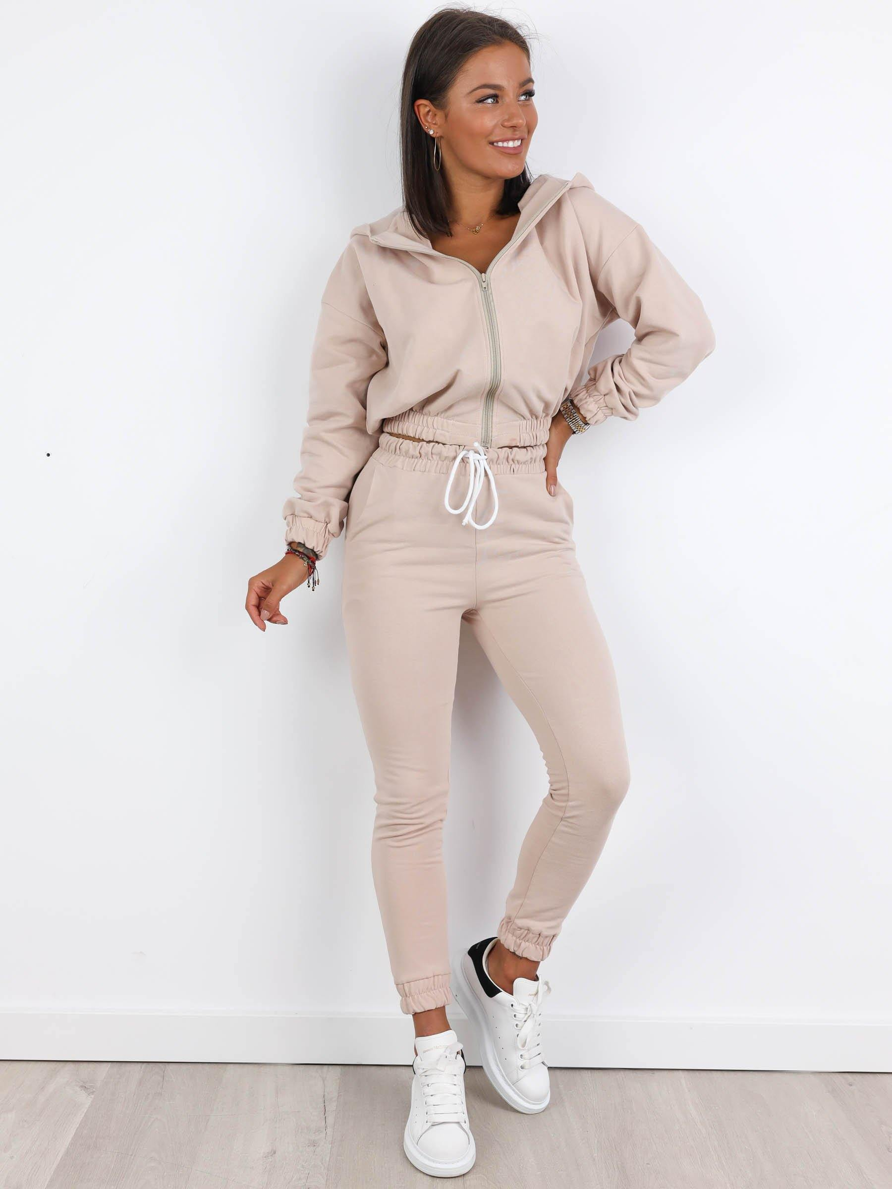 Cropped Zip Sweat and Jogger Set - BEIGE - A166 - Wassyl