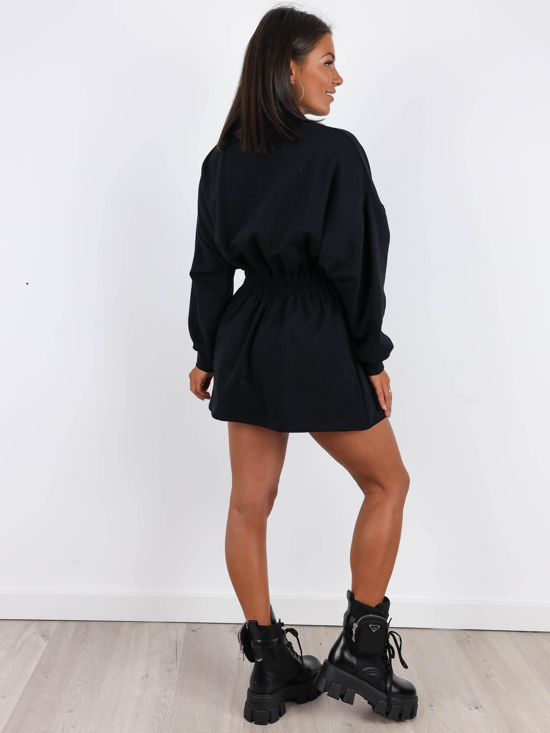 Basic Oversize Jumper Dress -  BLACK - A155 - Wassyl