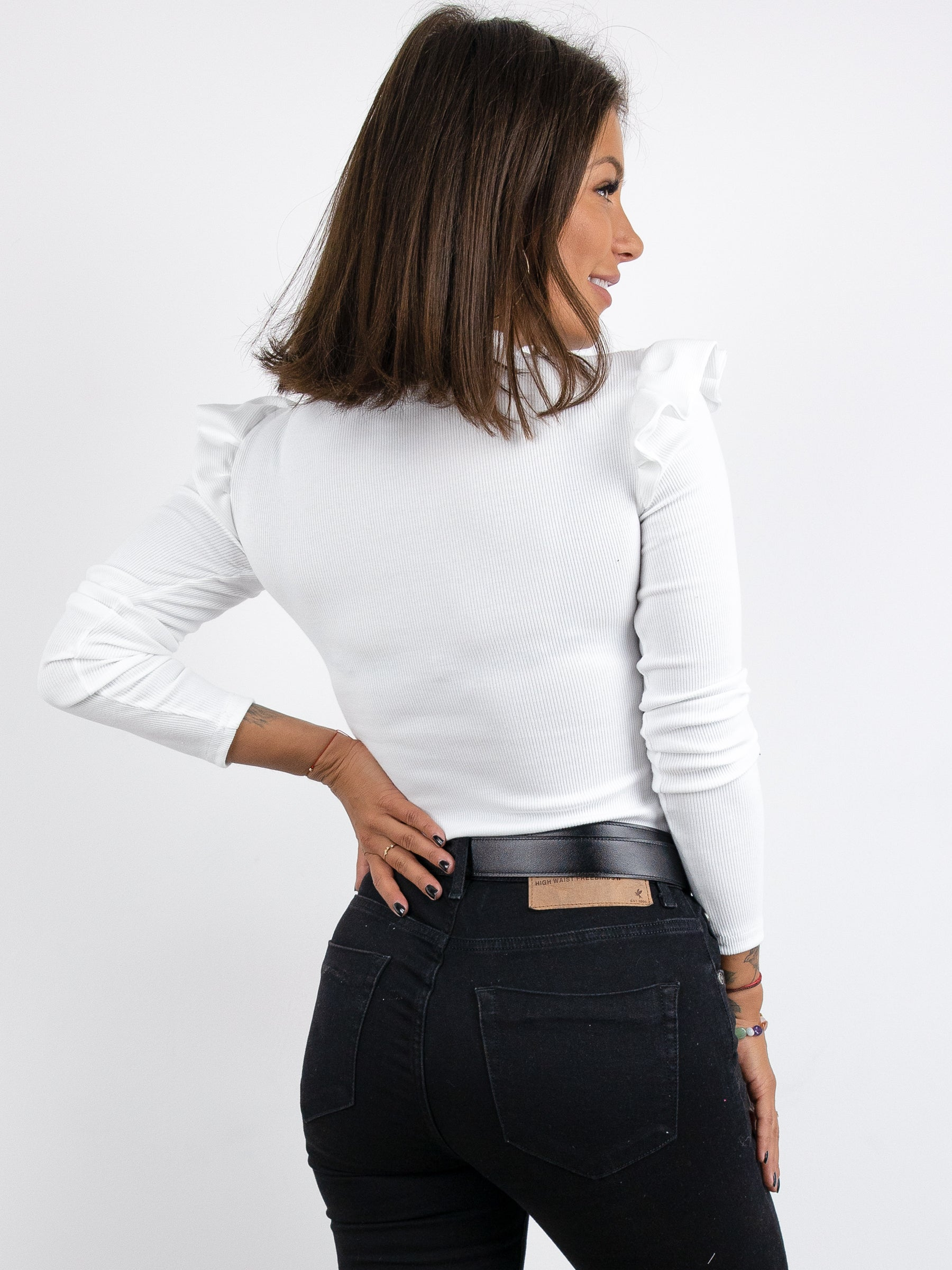 Ribbed Frill Detail Long Sleeve Top - WHITE- A233