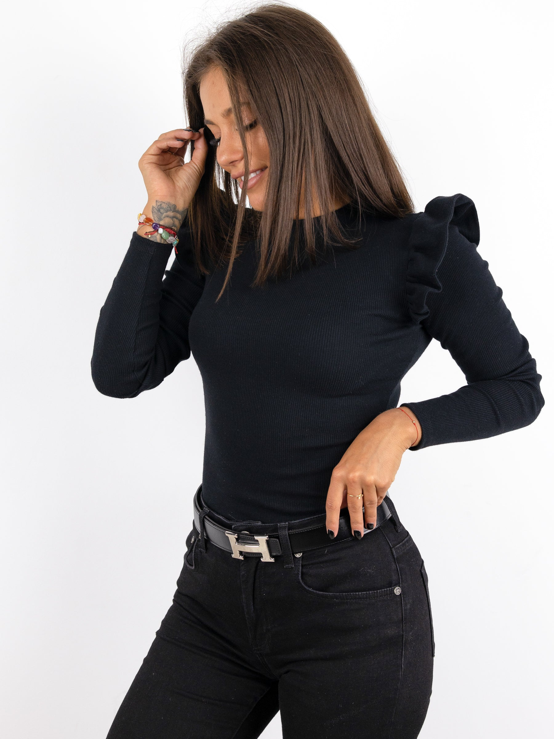 Ribbed Frill Detail Long Sleeve Top - BLACK- A233