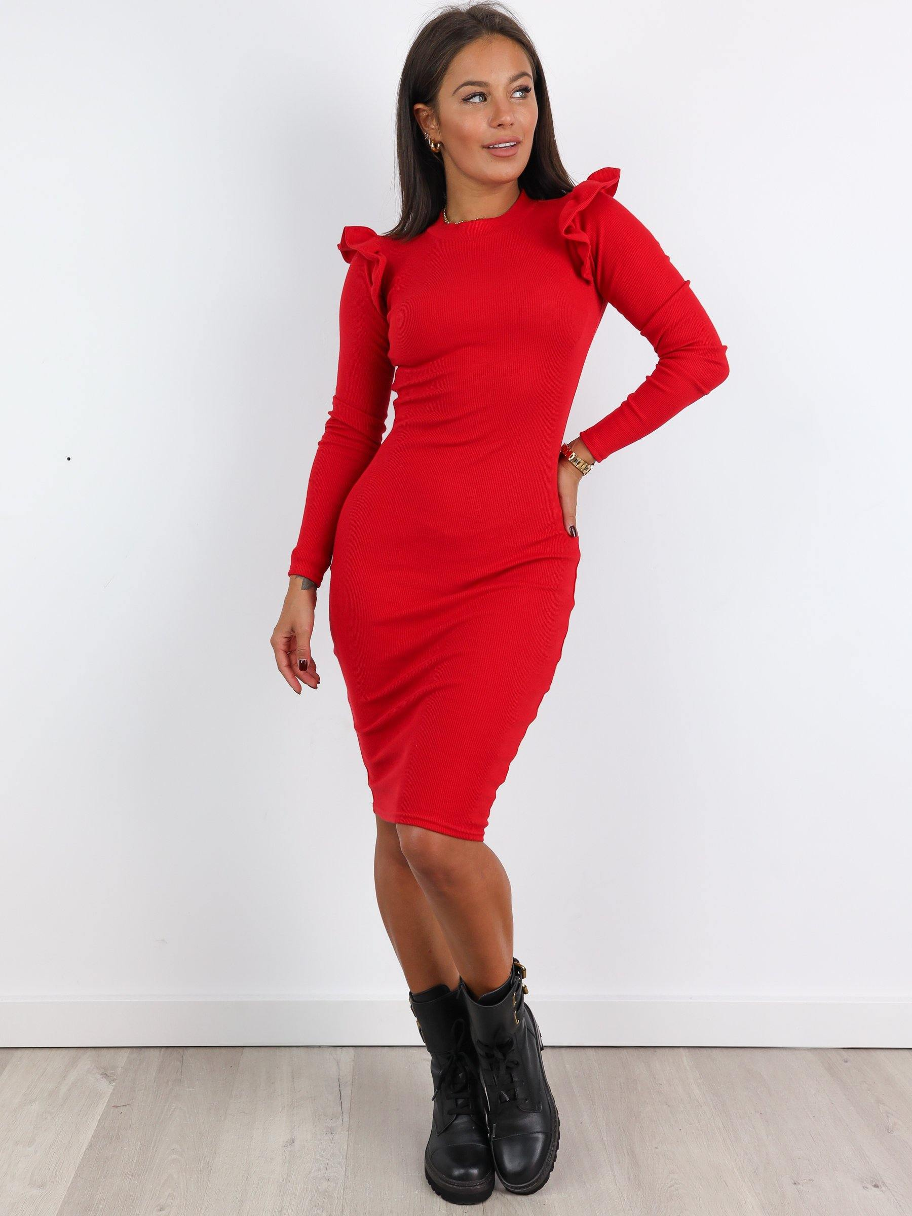 Ribbed Frill Details Bodycon Dress - RED -A255 - Wassyl