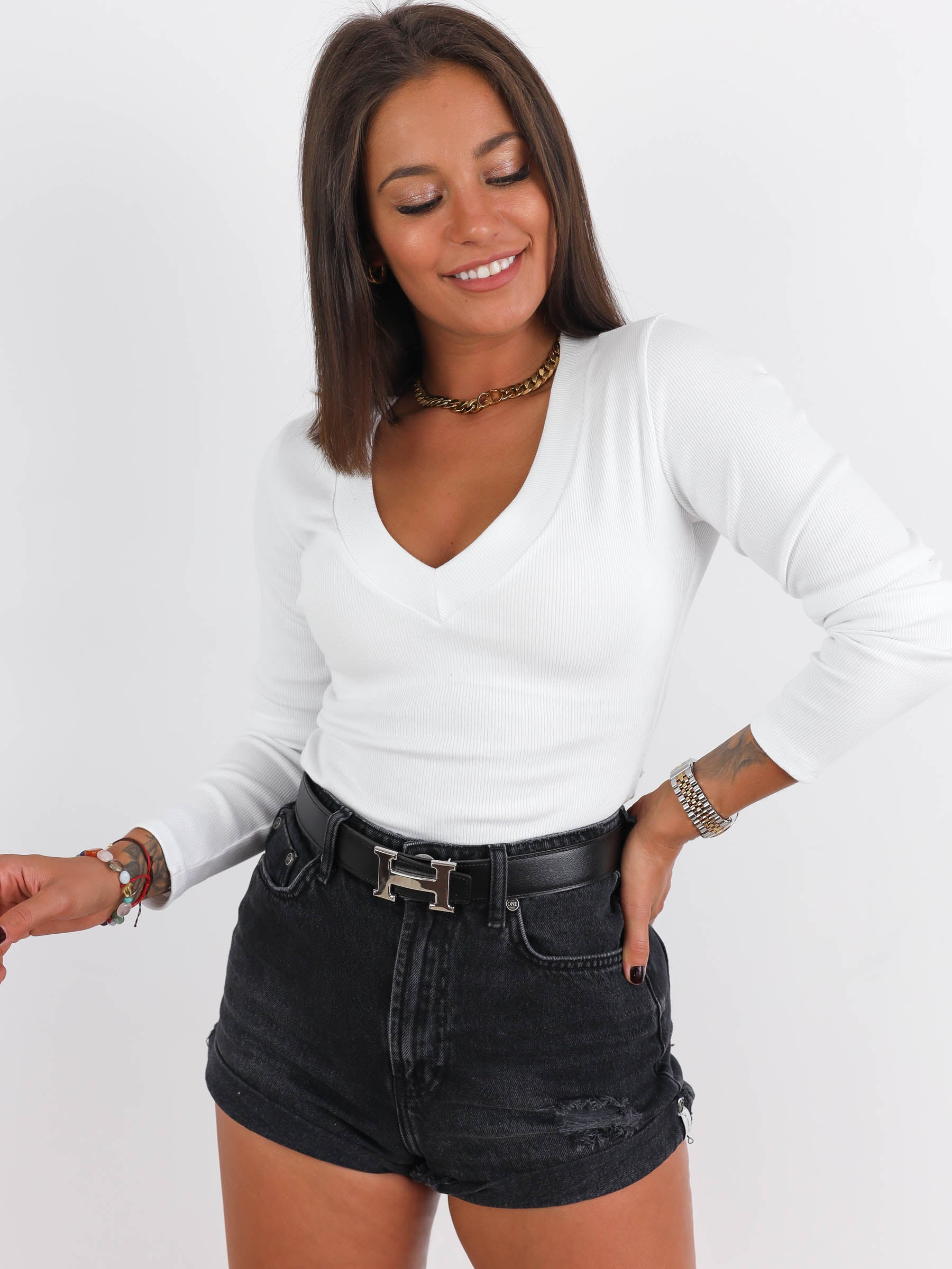 Ribbed Long Sleeve V Neck Top - WHITE- A191