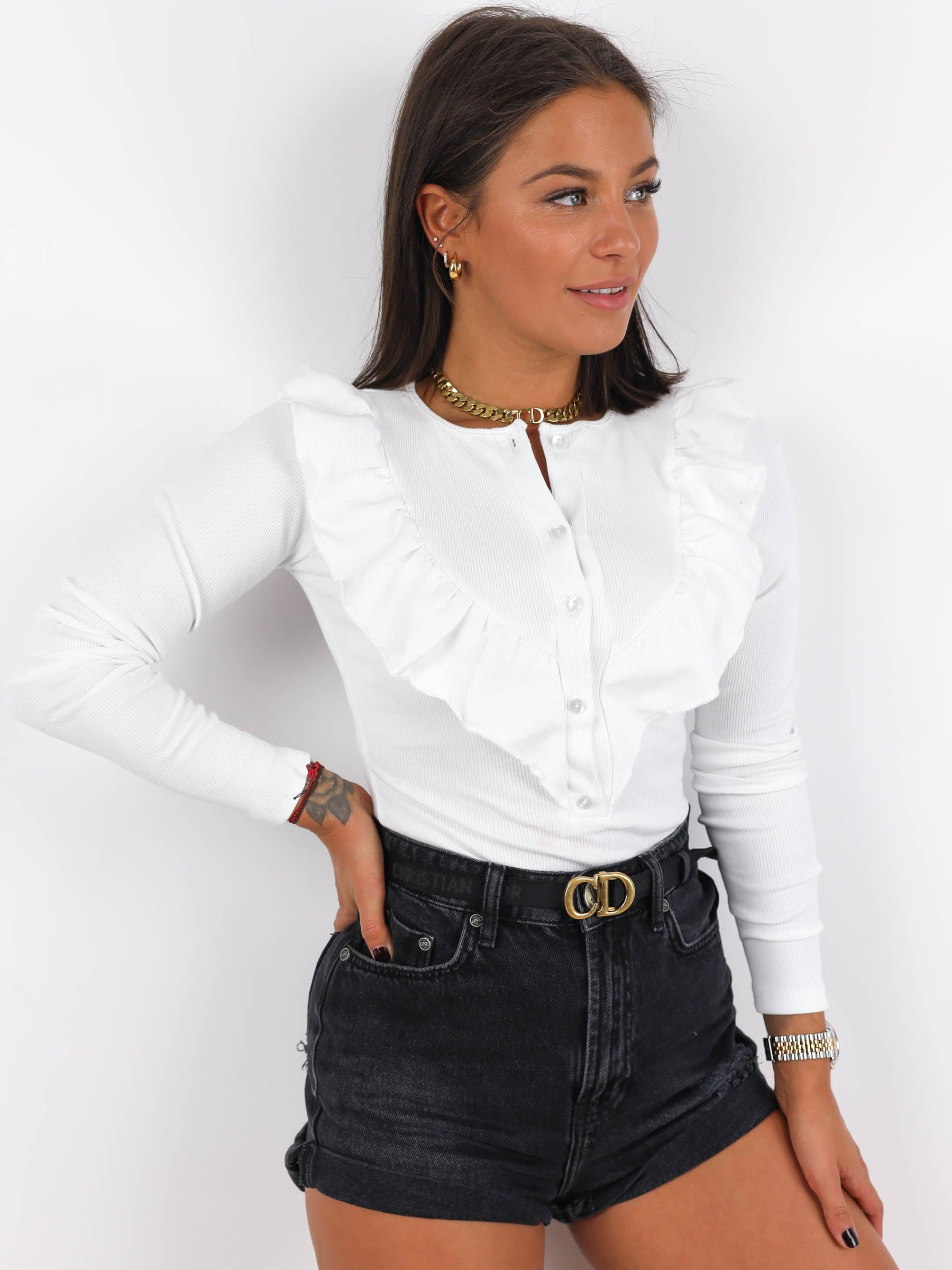 Ribbed Frills Detail Long Sleeve Top - WHITE- A217