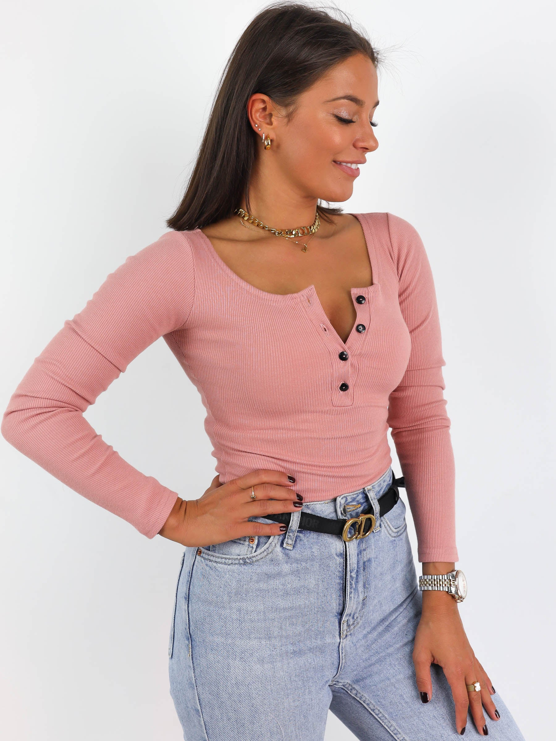 Ribbed Button Detail Scoop Neck Top - PINK- A215