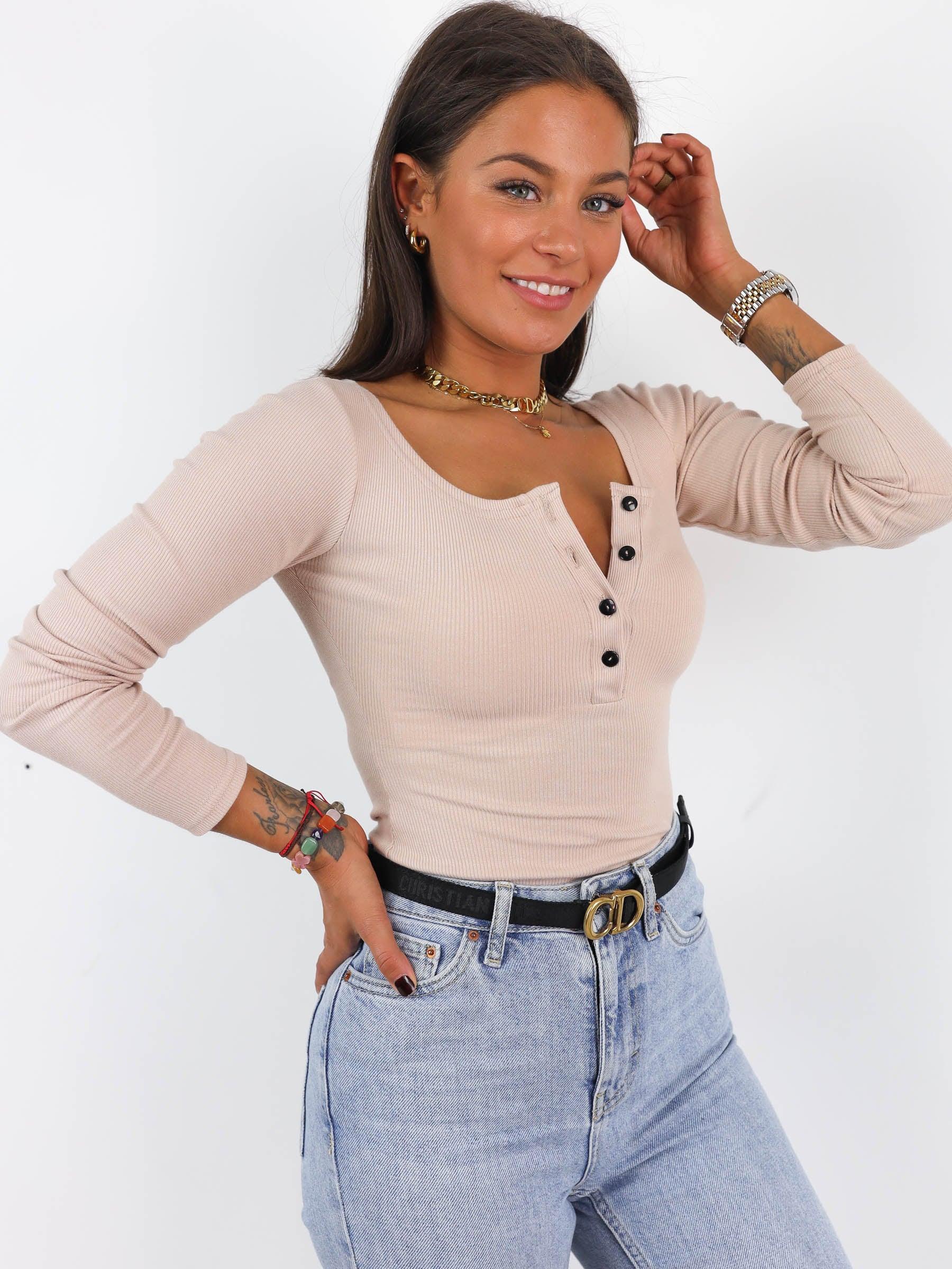 Ribbed Button Detail Scoop Neck Top - BEIGE- A215
