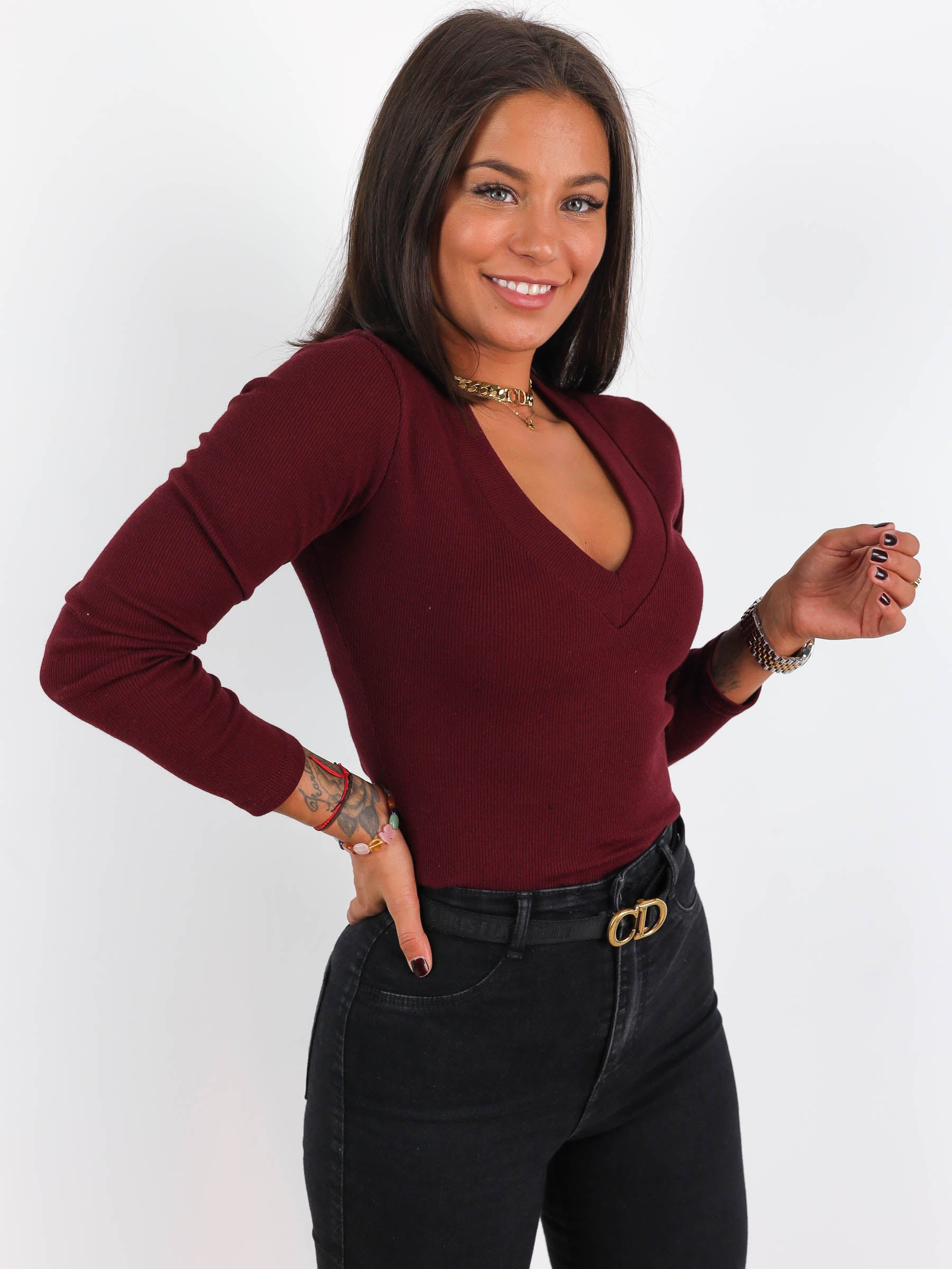 Ribbed Long Sleeve V Neck Top - BURGUNDY- A191