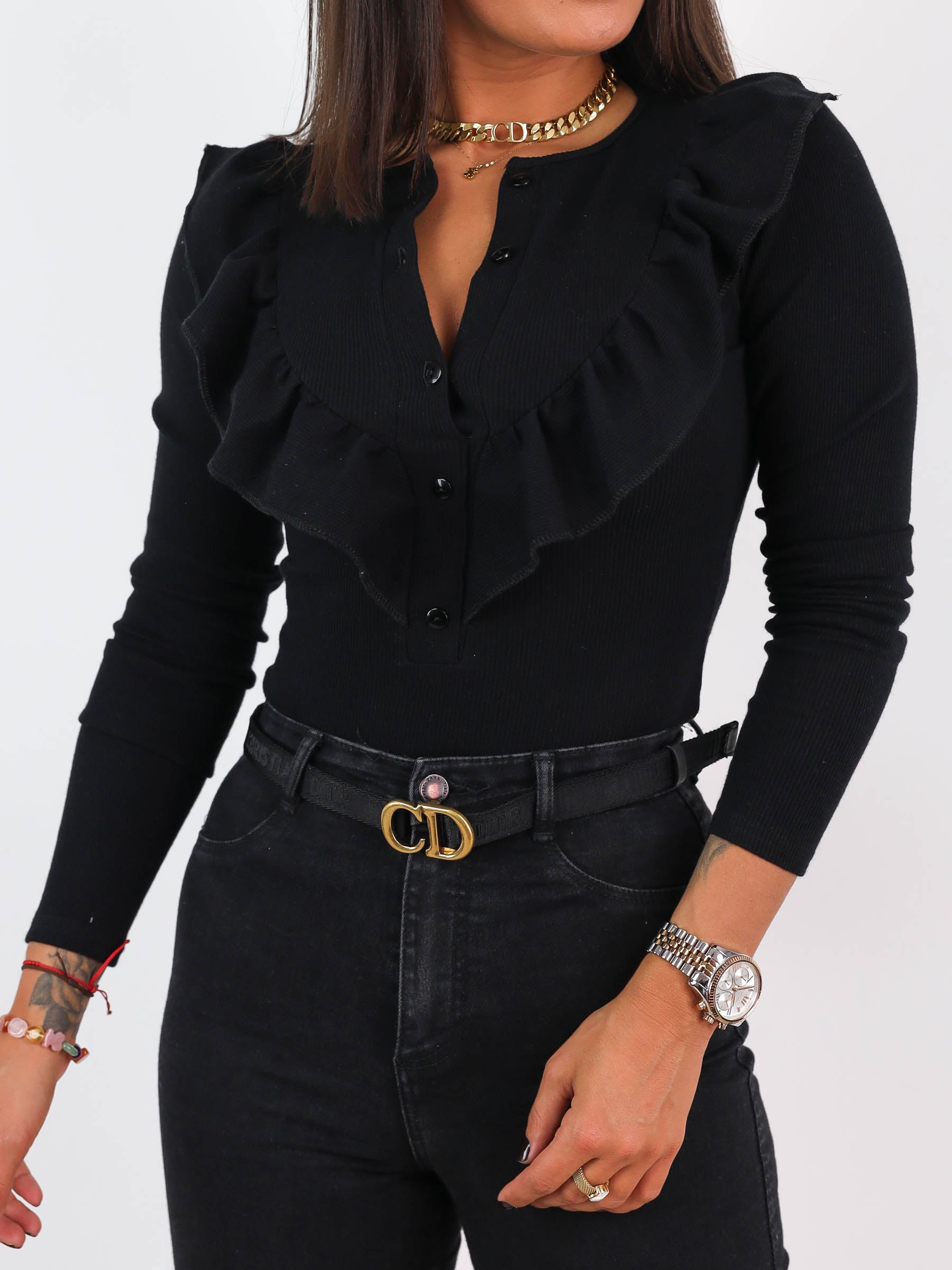 Ribbed Frills Detail Long Sleeve Top - BLACK- A217