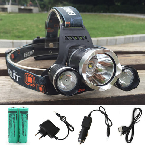 13000LM LED L2+2R5 Headlamp - 18650 battery - Car USB AC Charger -For Camping