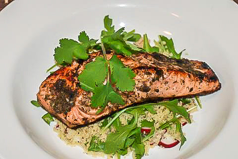 Grilled Green Seasoned Salmon with Radish and Arugula Couscous