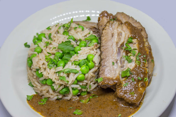 Chana Masala Braised Brisket with Spiced Rice