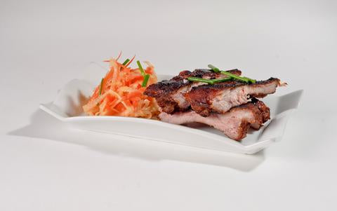 Saha Red Curry Glazed Ribs with Daikon and Carrot Slaw