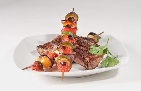 Saha Summer Steaks with Grilled Vegetable Kebabs