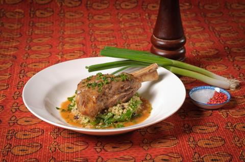 Lamb Shanks, Saha-Style with Warm Bulghar Salad