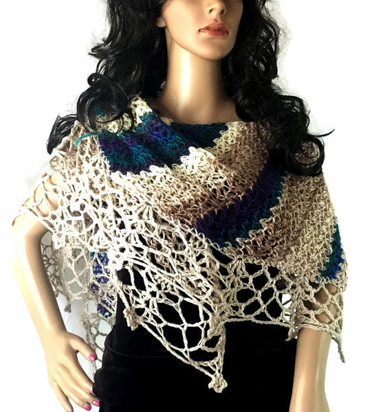 Wide Striped Lace Shawl -  Turquoise Purple Cream Beige Tan - FREE SHIPPING SH75