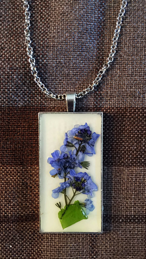 Outlander Scottish Forget Me Nots Rectangular Pendant Necklace -  Copper, Gold or Silver - FREE SHIPPING OJ06