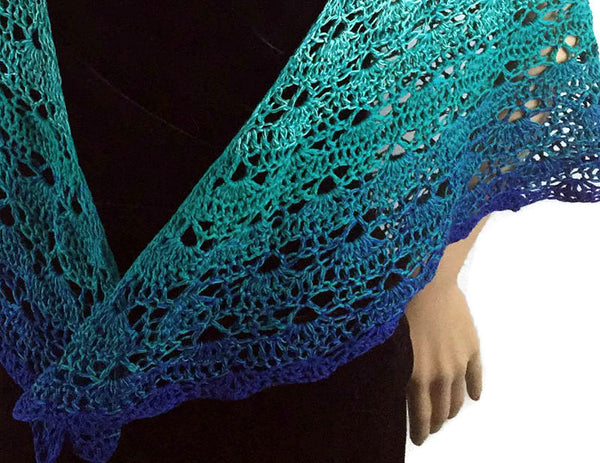 Isle of Skye Ombre Shawl - Scotland - Turquoise to Blue - FREE SHIPPING SH74