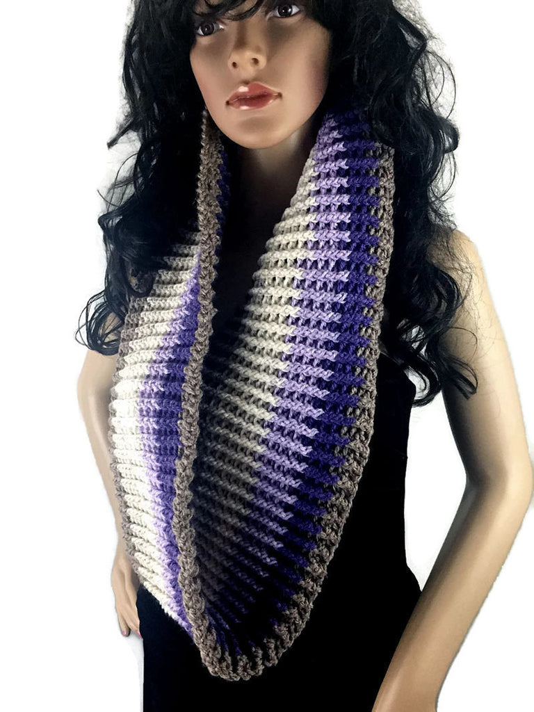 Ribbed Striped Cowl Scarf - Lavender Purple Brown White - FREE SHIPPING C14