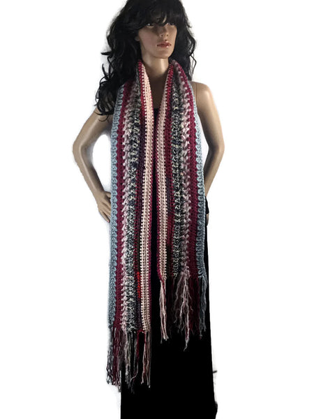 Ragamuffin Chunky Long Winter Scarf with Fringe - Red Gray Pink Green - FREE SHIPPING SC09