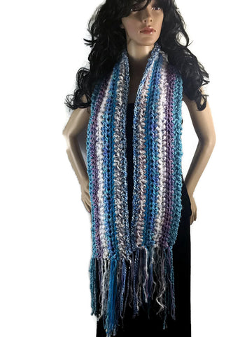 Ragamuffin Chunky Long Winter Scarf with Fringe - Turquoise Blue Lavender Purple White - FREE SHIPPING SC10